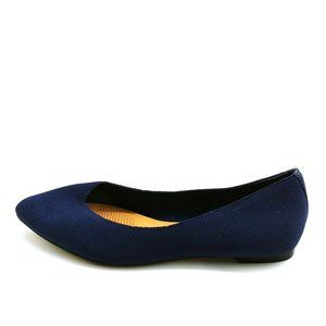Corso Como Womans Slip On Stretch Fabric Flat Navy